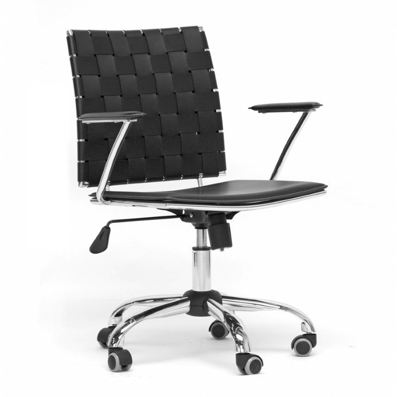 Baxton Studio Vittoria Black Leather Modern Office Chair