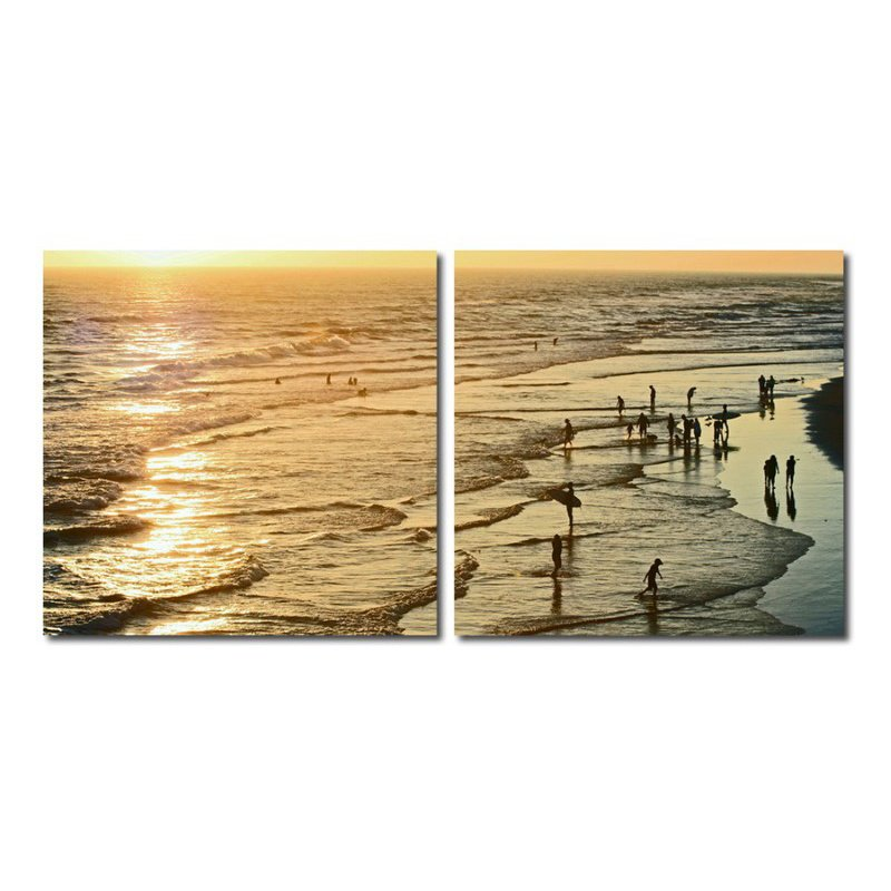 Baxton Studio Wading in the Waves Mounted Photography Print Diptych