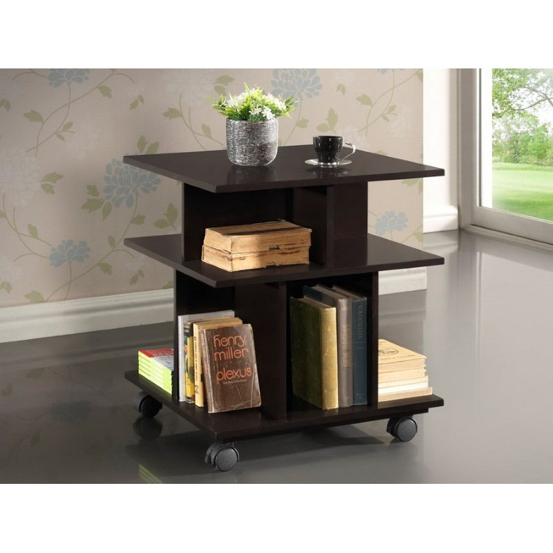 Baxton Studio Warren Dark Brown Wheeled Modern Storage Shelf