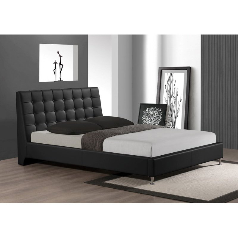 Baxton Studio Zeller Black Modern Bed with Upholstered Headboard in Queen Size