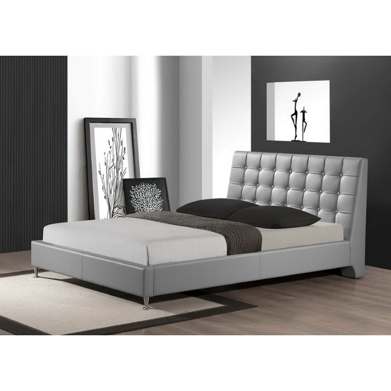 Baxton Studio Zeller Gray Modern Bed with Upholstered Headboard in Queen Size