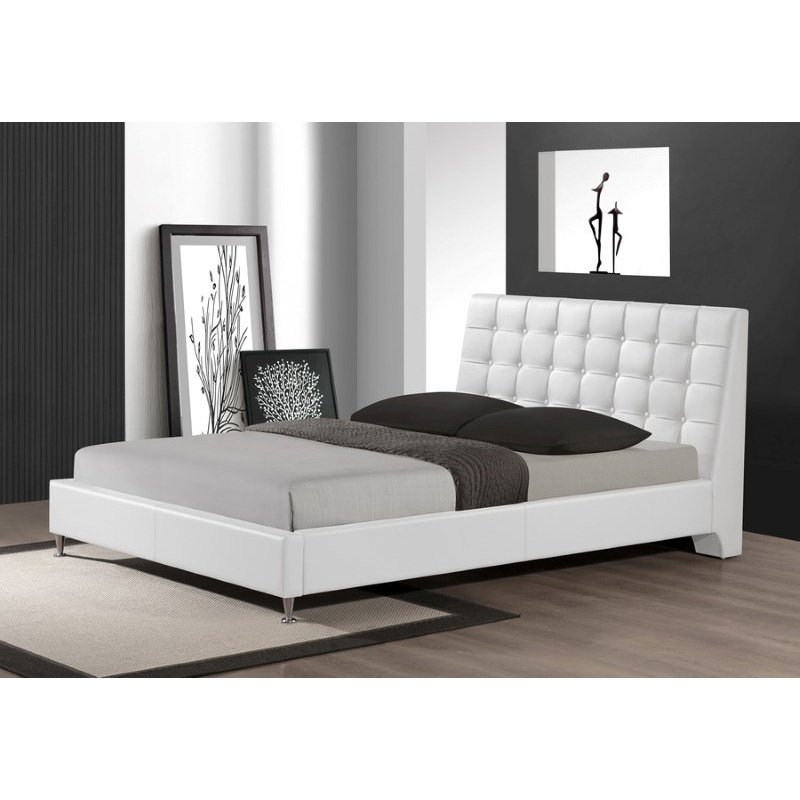 Baxton Studio Zeller White Modern Bed with Upholstered Headboard in Queen Size