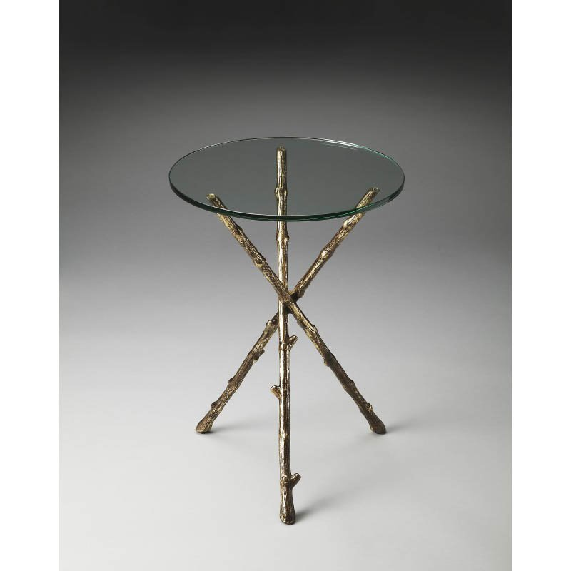 Butler Specialty Alpine Glass And Metal Accent Table