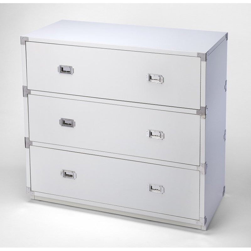 Butler Specialty Anew White 3 Drawer Campaign Chest (5256288)