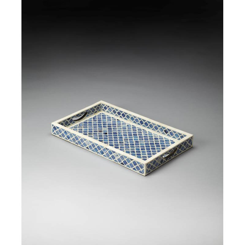Butler Specialty Bone Inlay Serving Tray in Blue