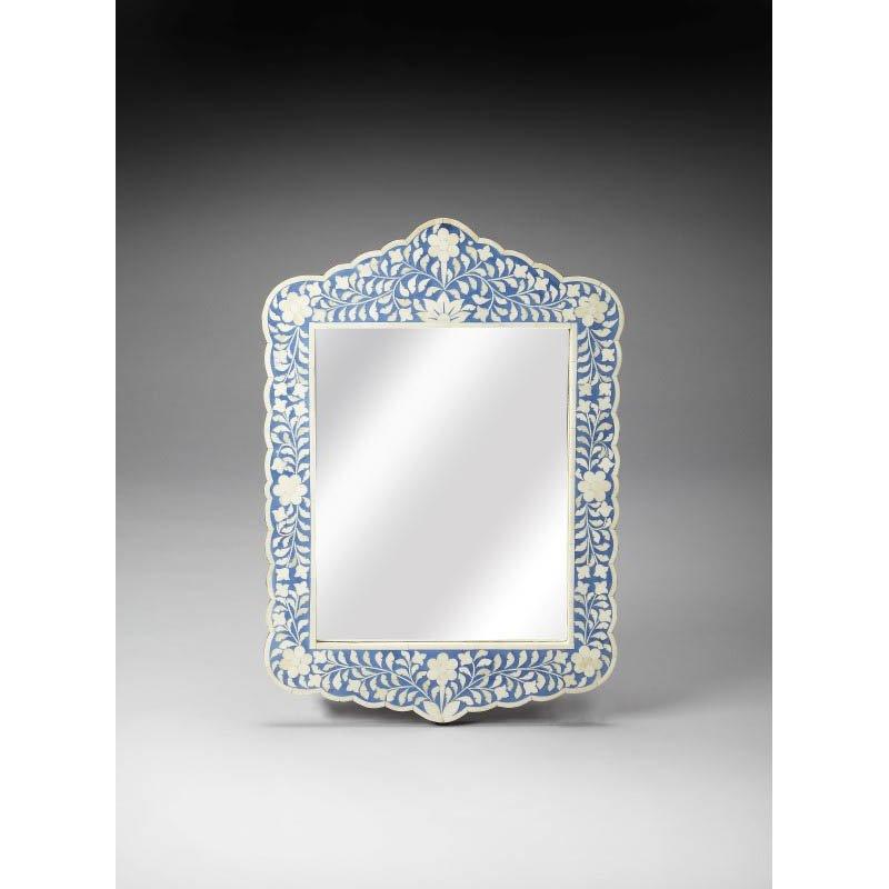 Butler Specialty Bone Inlay Wall Mirror in Blue