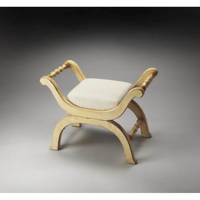 Butler Specialty Brianne Cream & Gold Painted Bench