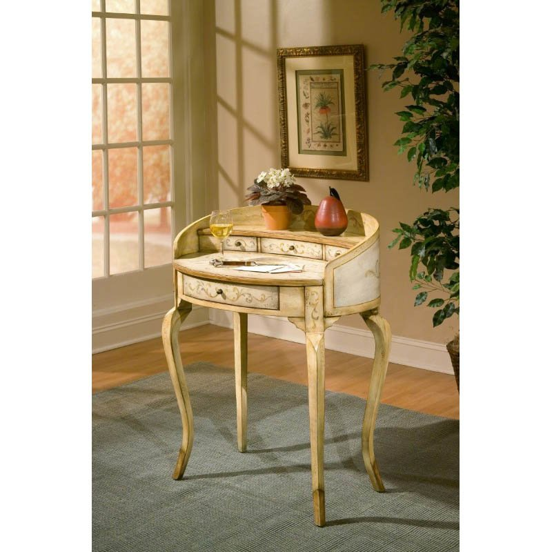 Butler Specialty Damosel Tuscan Cream Hand Painted Ladies Writing Desk