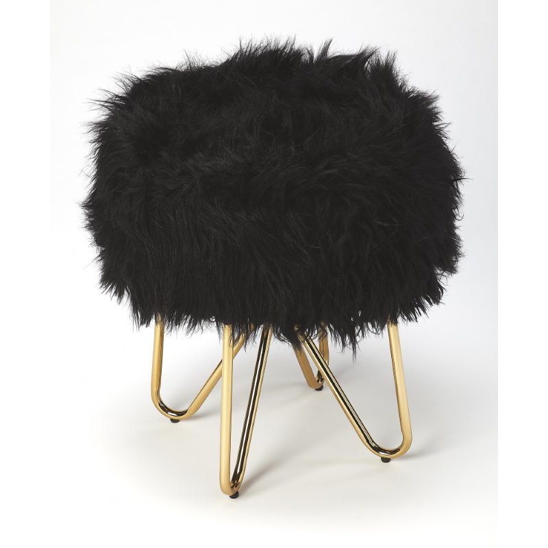Butler Specialty Ezra Black Faux Fur Stool (5205402)