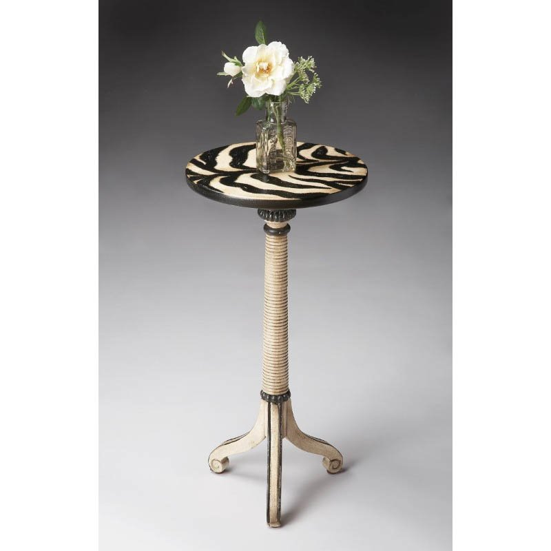 Butler Specialty Florence Zebra Stripe Painted Pedestal Table