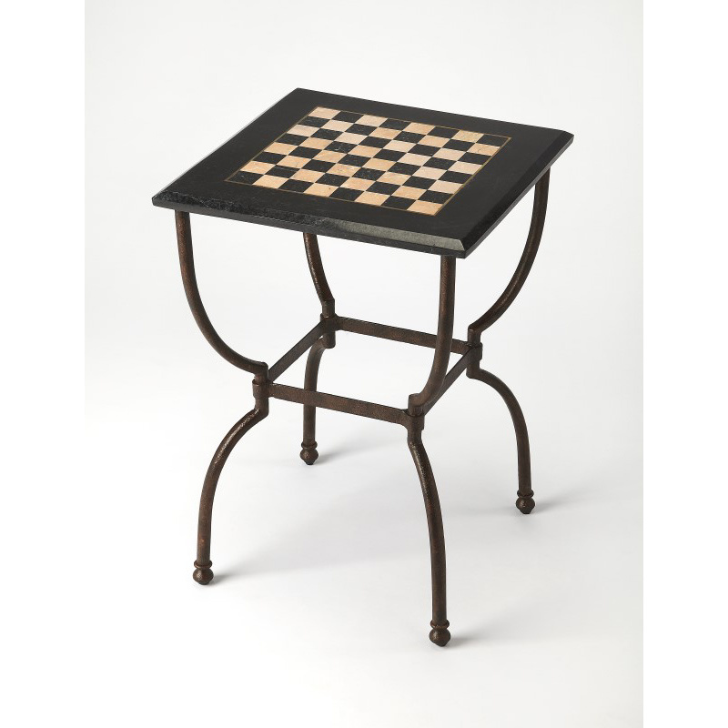 Butler Specialty Fossil Stone Game Table in Dark Brown