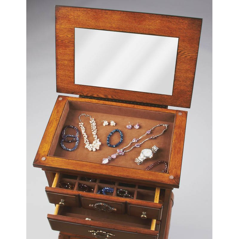 Butler Specialty Grace Vintage Oak Jewelry Chest