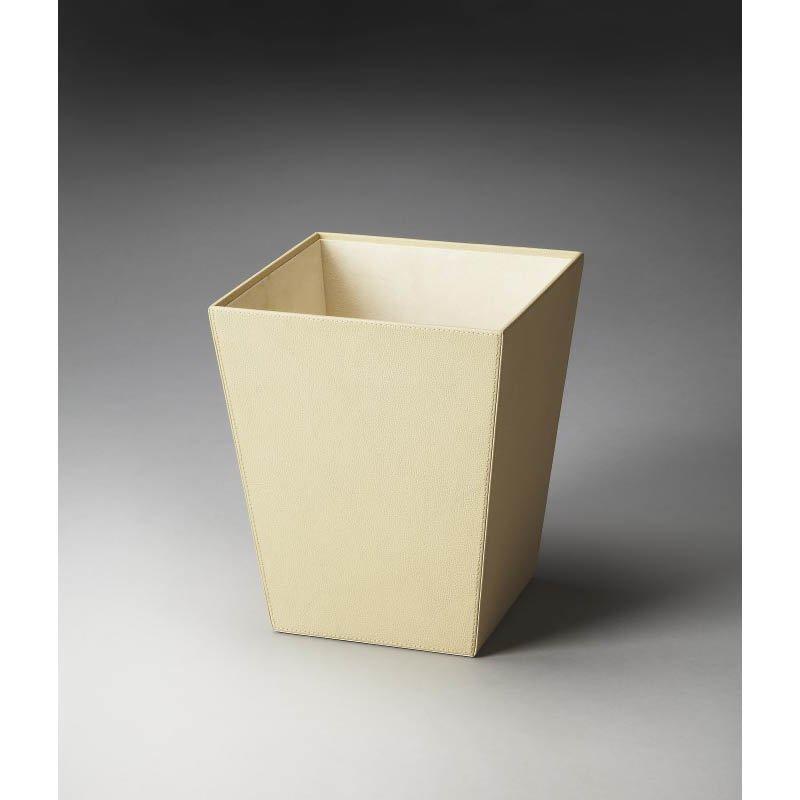 Butler Specialty Lido Cream Leather Storage Basket