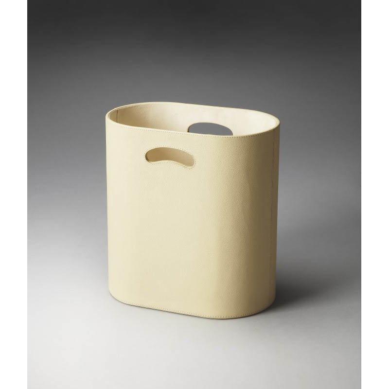 Butler Specialty Lido Cream Leather Storage Basket in Beige