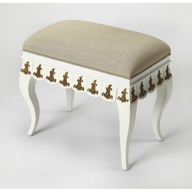 Butler Specialty Linor White & Gold Vanity Stool (4480070)