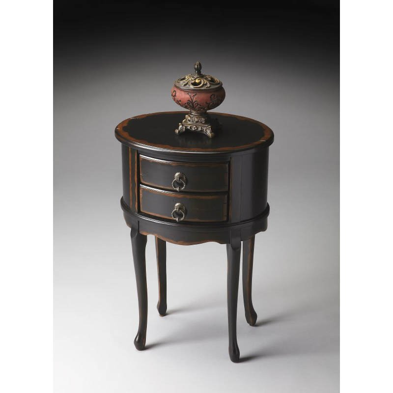 Butler Specialty Masterpiece Oval Side Table in Midnight Rose
