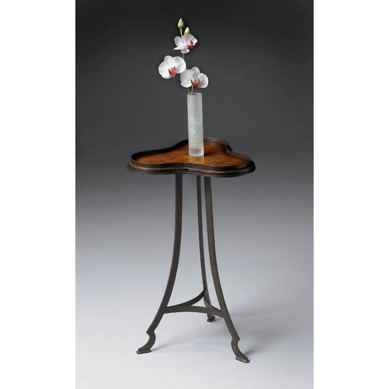 Butler Specialty Metalworks Curved Leg Accent Table in Olive Ash Burl Finish