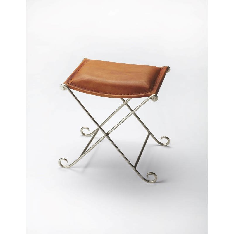 Butler Specialty Metalworks Leather Stool in Gold