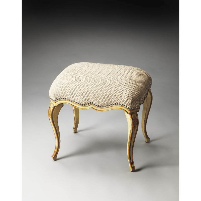 Butler Specialty Michelline Cream & Gold Painted Vanity Stool