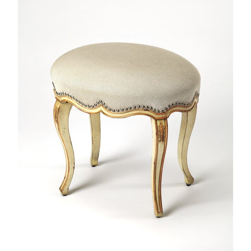 Butler Specialty Michelline Cream & Gold Painted Vanity Stool (3629221)