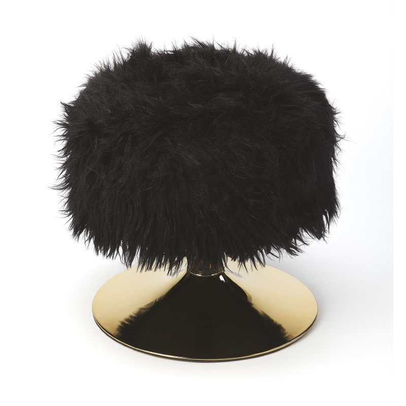 Butler Specialty Nona Black Faux Fur Stool (5204295)