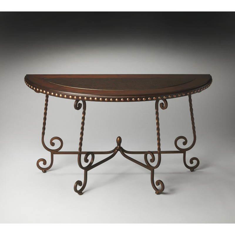 Butler Specialty Nottingham Metal & Wood Demilune Console Table