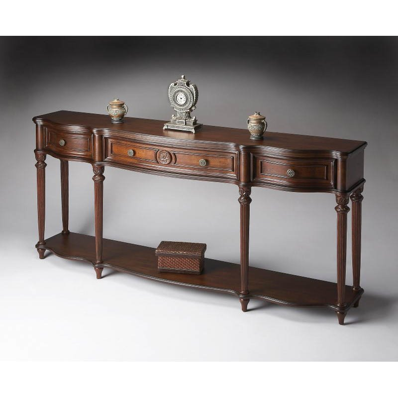Butler Specialty Peyton Plantation Cherry Console Table in Dark Brown