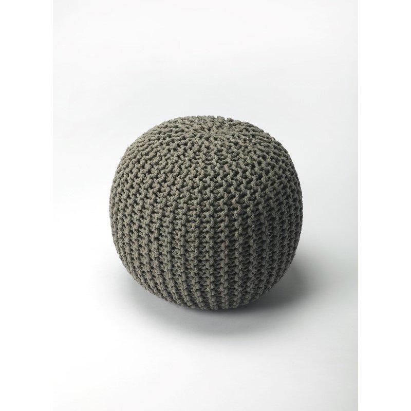 Butler Specialty Pincushion Gray Woven Pouffe (3689329)