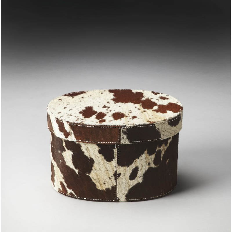 """Butler Specialty San Angelo 7.25"""" Hair-On-Hide Oval Storage Box"""