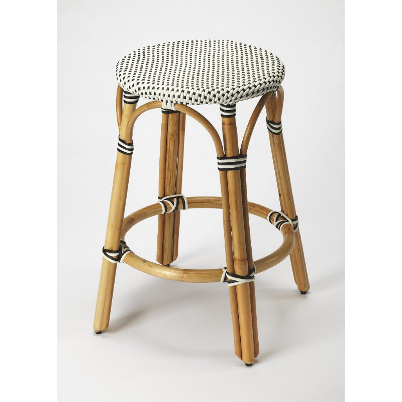 Butler Specialty Tobias Black & White Rattan Counter Stool (9371295)