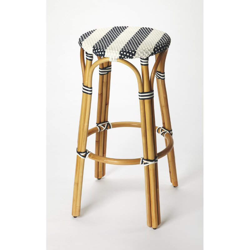 Butler Specialty Tobias Blue & White Rattan Bar Stool (9370291)