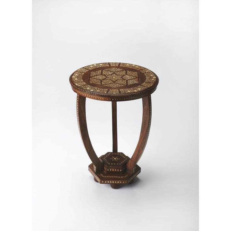 Butler Specialty Wood & Bone Inlay Accent Table in Multi Finish