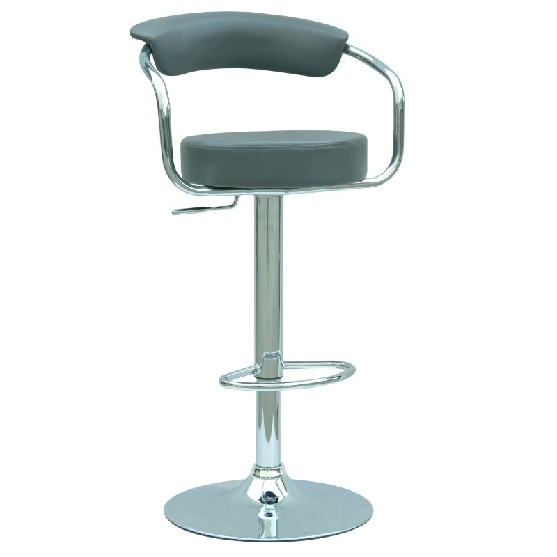Chintaly Imports 0326 Pneumatic Gas Lift Adjustable Height Swivel Stool in Grey
