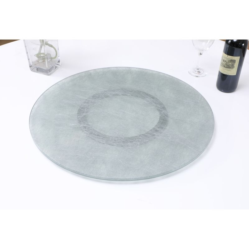 """Chintaly Imports 24"""" Glass Lazy Susan with Silkscreen Design (LAZY-SUSAN-24-SLK)"""
