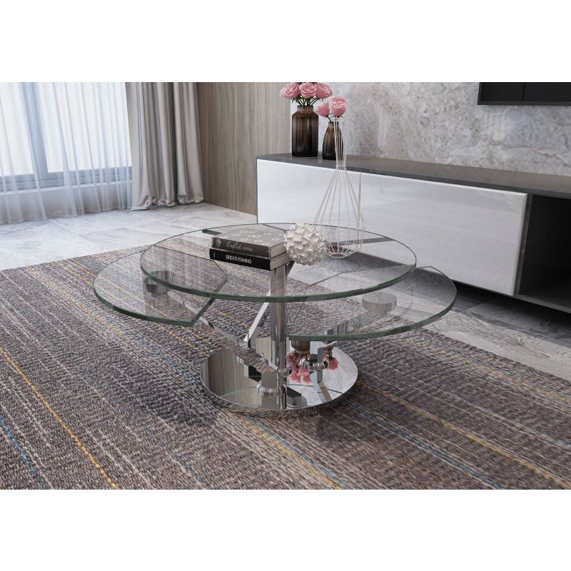 Chintaly Imports Contemporary Cocktail Table with Glass Top and Motion Shelves (8081-CT)