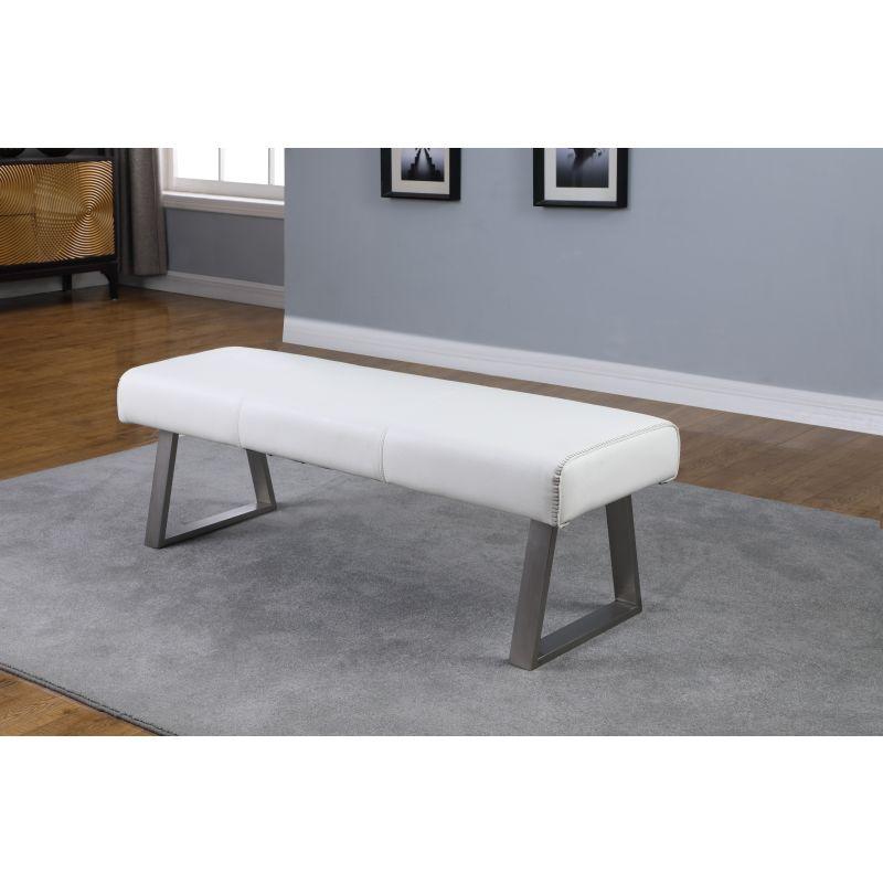 Chintaly Imports Gwen Contemporary Rectangular Bench (GWEN-BCH-WHT)
