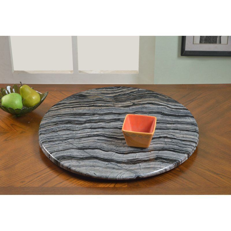 "Chintaly Imports Lazy Susan 24"" Round Ancient Wood Grain Marble Rotating Tray"