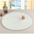 """Chintaly Imports Lazy Susan 24"""" Round Glass Rotating Tray in White"""