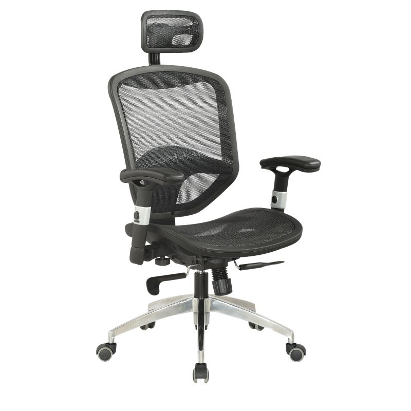 Chintaly Imports Mesh Seat & Back Pneumatic Gas Lift Office Chair