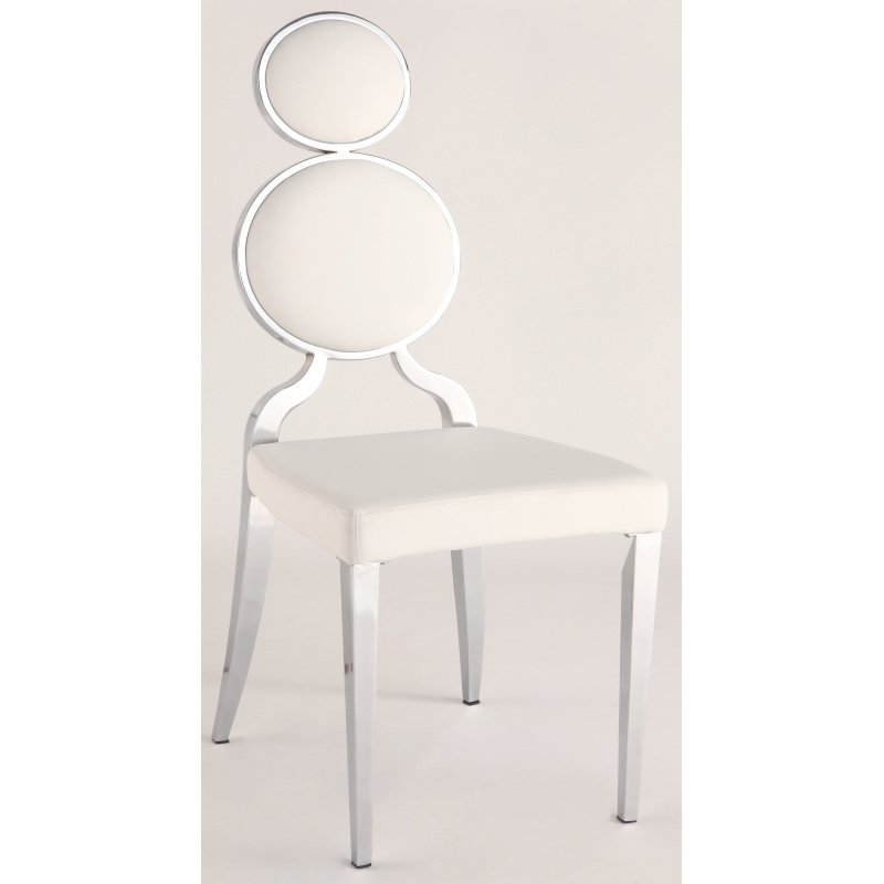 Chintaly Imports Oprah Double Ring Back Side Chair in White (Set of 2)