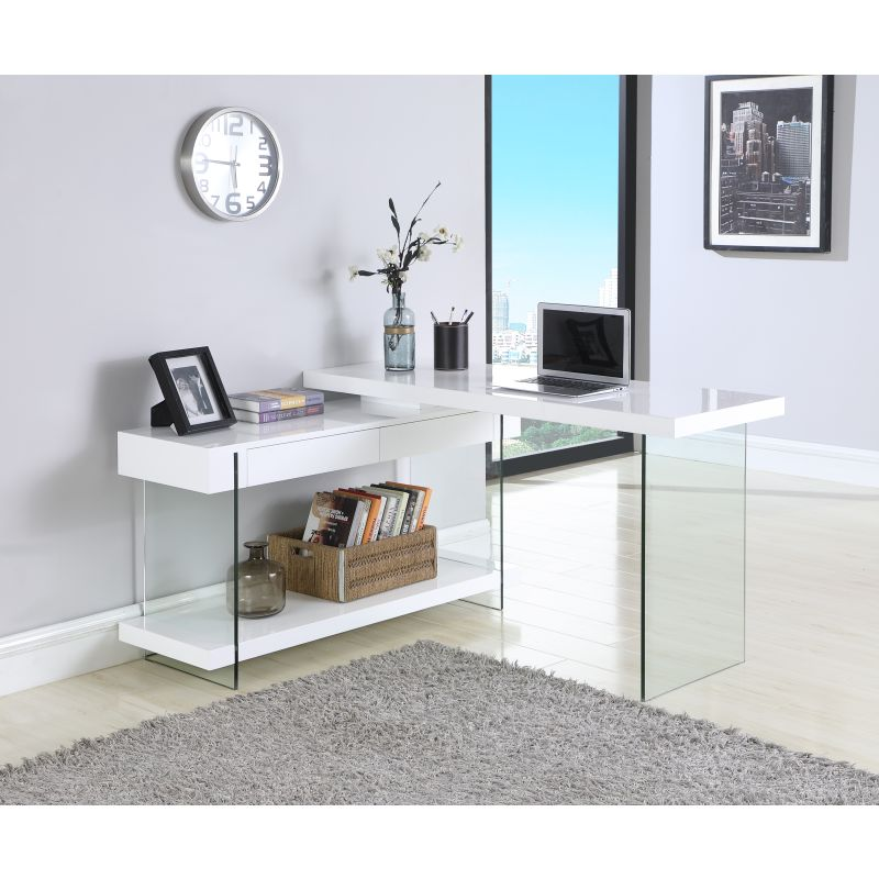 Chintaly Imports Rotatable Gloss White Wooden Desk with 2 Drawers and Shelf (6920-DSK)