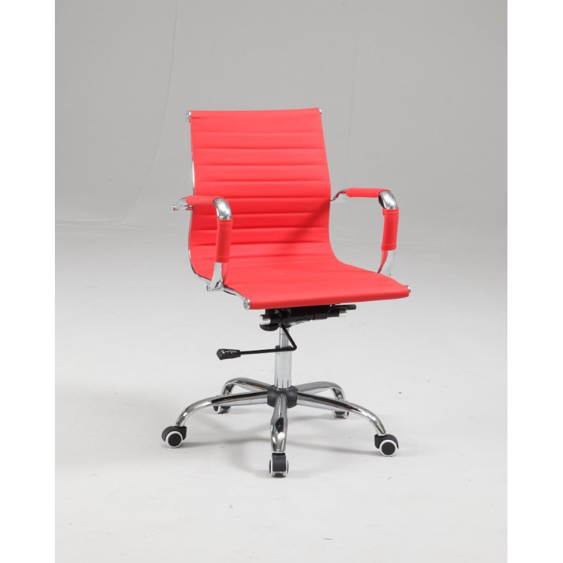 Chintaly Imports Upholstered Back Adjustable Office Chair in Red