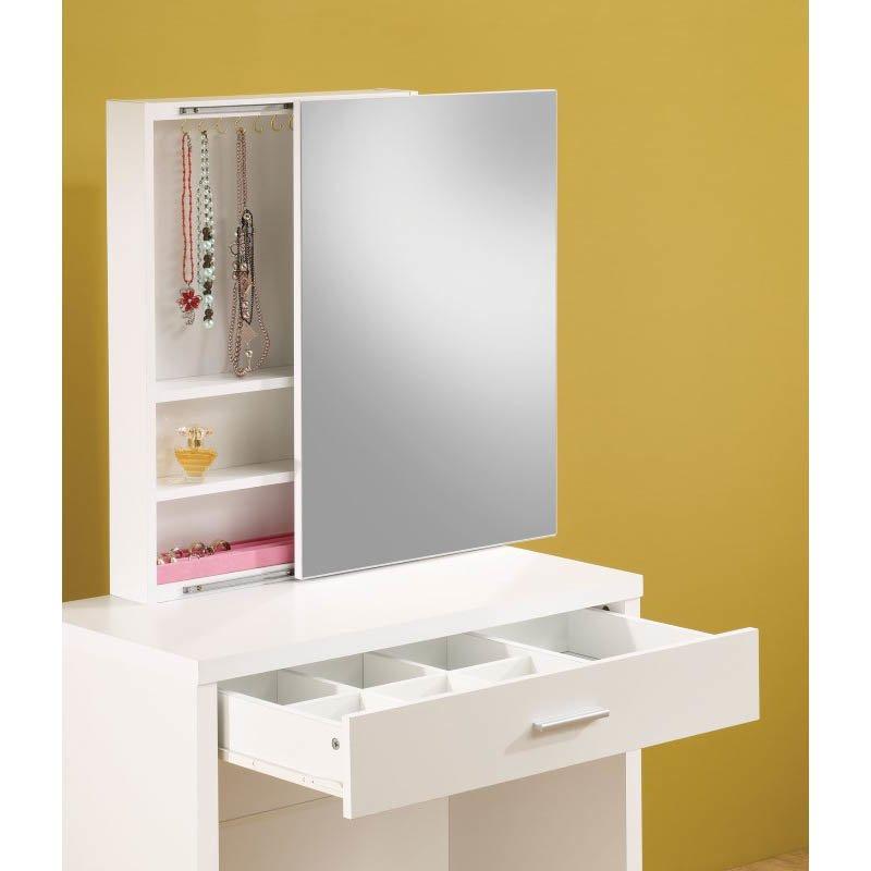 Coaster 2 Piece Vanity Set with Hidden Mirror Storage in White