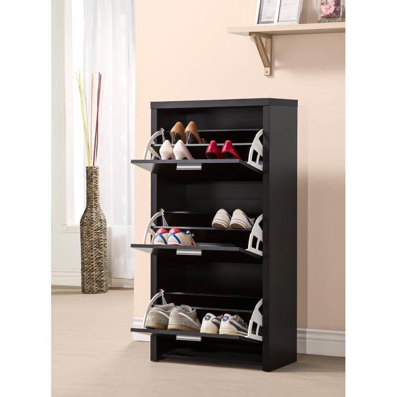 Coaster 3 Drawer Shoe Cabinet in Black