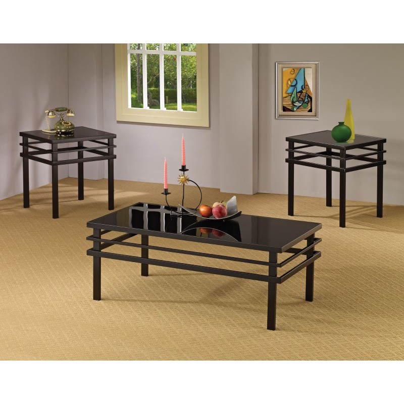 Coaster 3 Piece Modern Coffee and End Table Set in Black