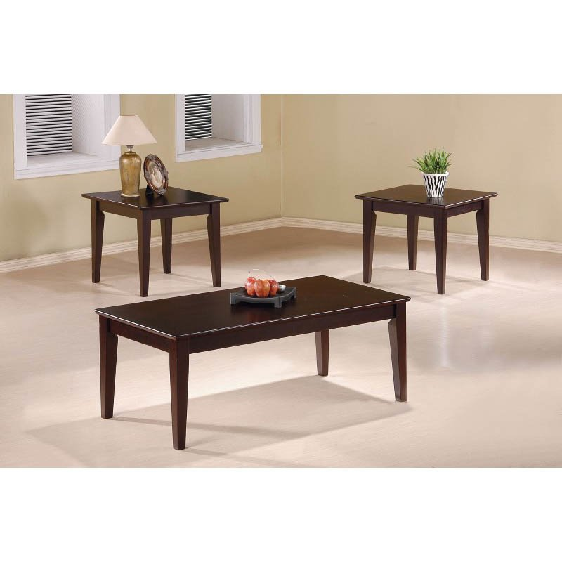 Coaster 3 Piece Occasional Table Set in Cappuccino with Tapered Legs