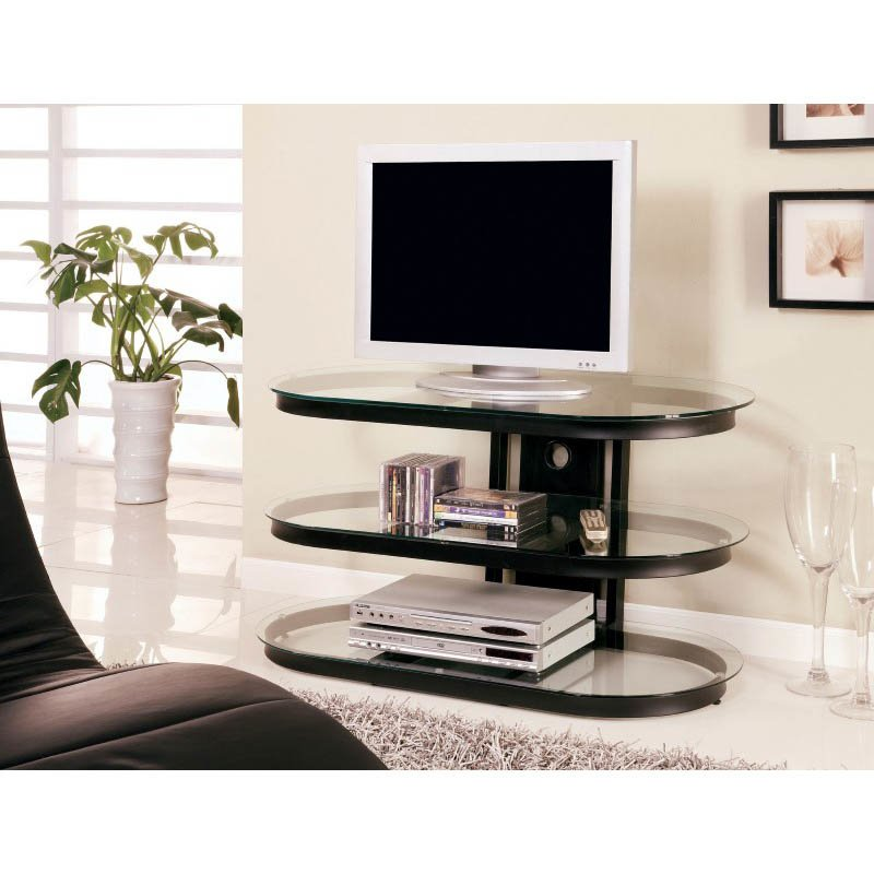 """Coaster 42"""" Contemporary Metal and Glass Media Console in Black"""