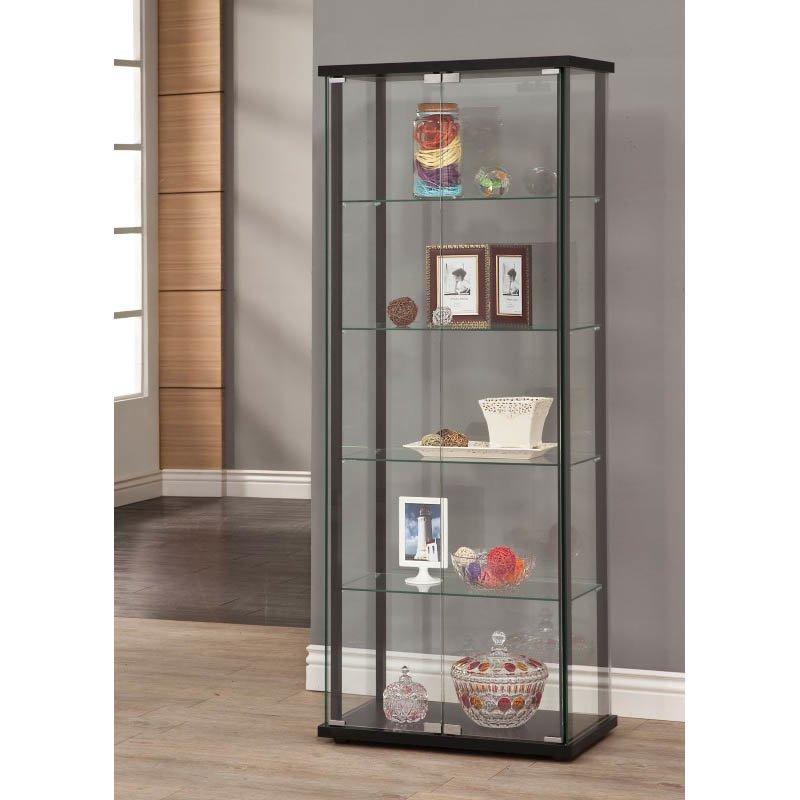 Coaster 5 Shelf Contemporary Curio Cabinet in Black