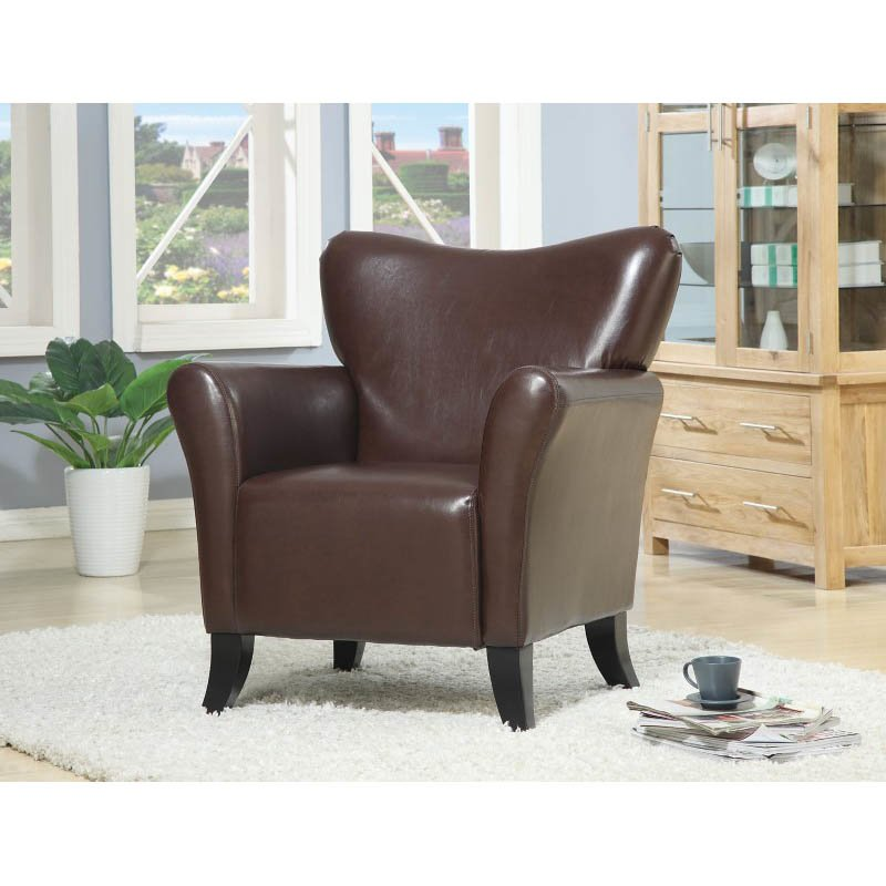 Coaster Accent Seating Contemporary Vinyl Upholstered Chair in Brown