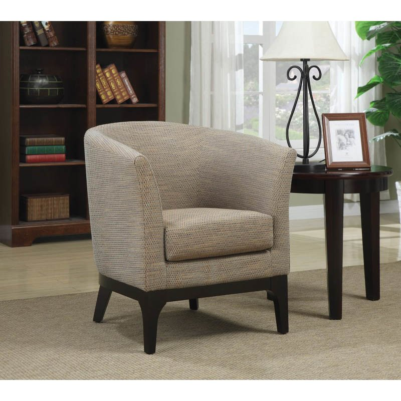 Coaster Accent Upholstered Club Barrel Chair in Beige